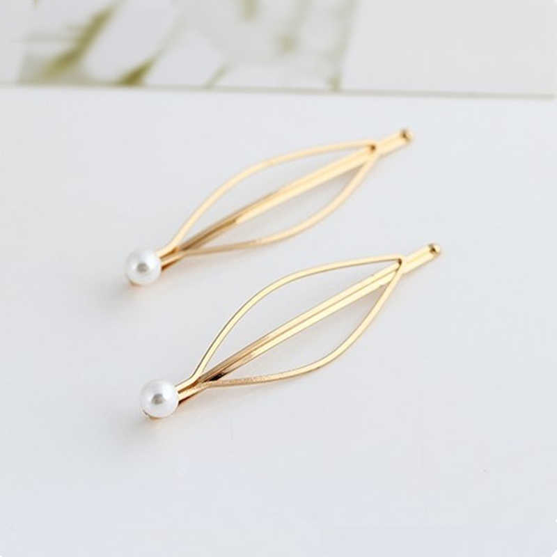 Fashion Simple atmospheric European and American wind Hairpin imitation pearl gold hairpin side clip hairpin