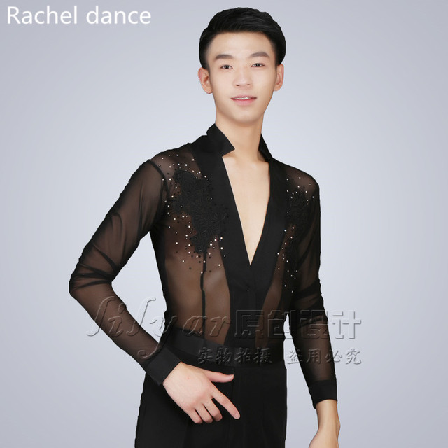 a7b5608c2fdf 2017 New Trendy Hot Stage Performance Sequins Shirt Long Sleeve Ballroom  Dance Costumes Men Shirt Latin Modern Dance Clothing