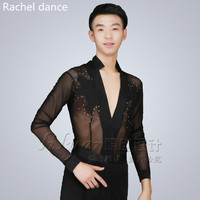 2017 New Trendy Hot Stage Performance Sequins Shirt Long Sleeve Ballroom Dance Costumes Men Shirt Latin Modern Dance Clothing