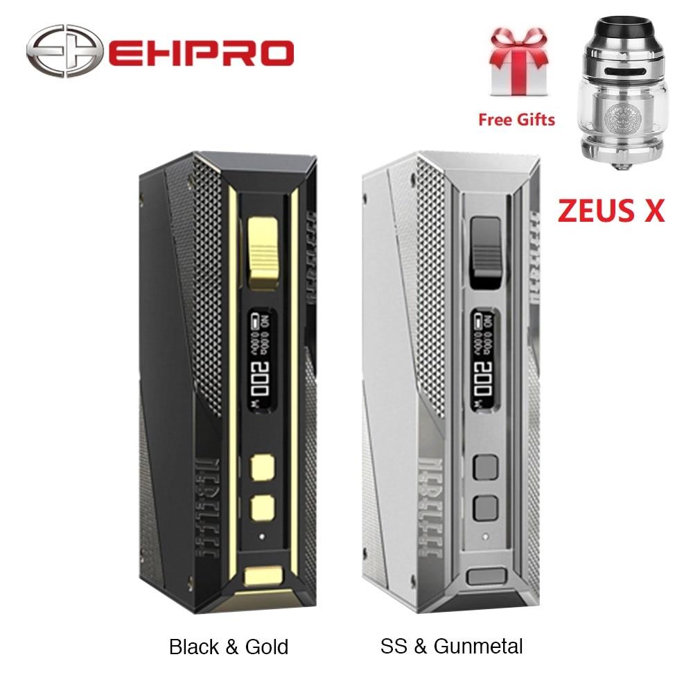 Free Zeus X RTA Ehpro Cold Steel 200 TC Box MOD W/ 200W Max Output No 18650 Battery Mod Box Vape Vaporizer Vs Drag 2/ Aegis Solo