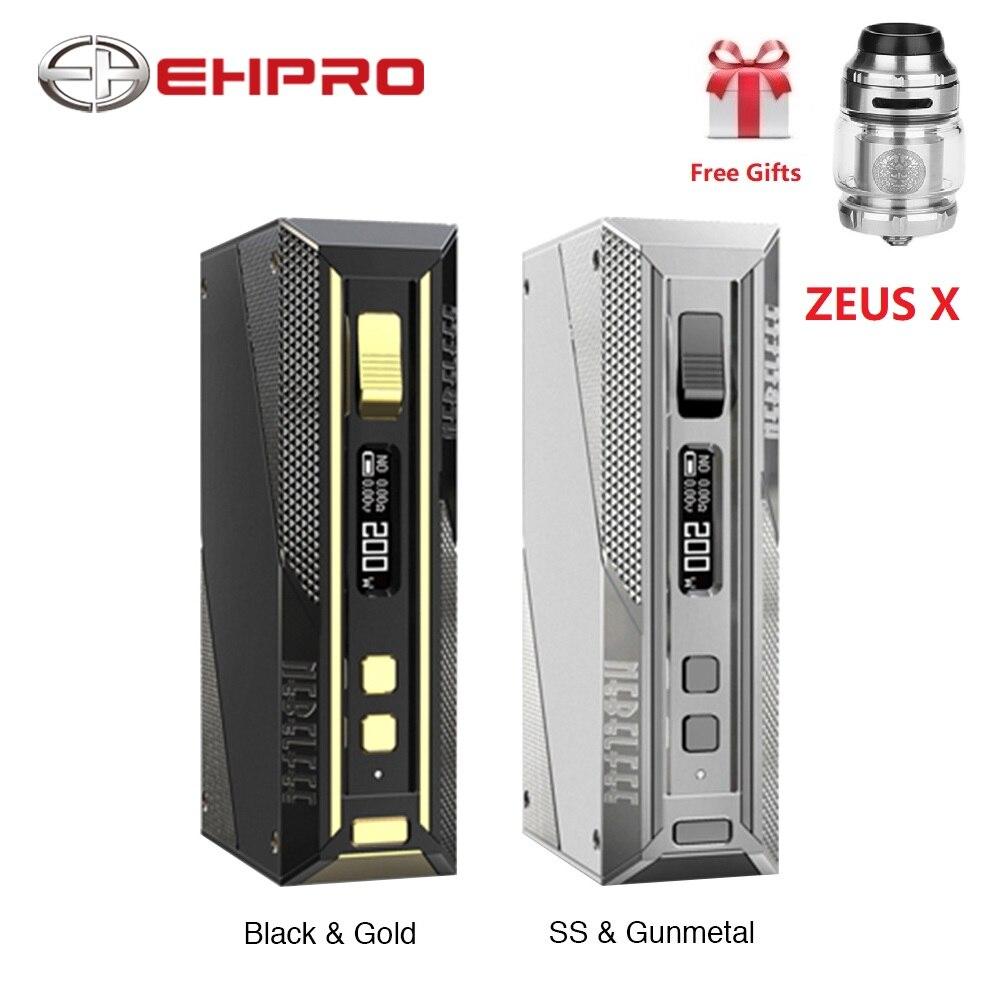 Gratuit Zeus X RTA Ehpro acier froid 200 TC boîte MOD w/200 W max sortie No 18650 batterie Mod boîte Vape vaporisateur vs glisser 2/Aegis Solo