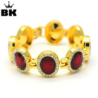 Gold Red Tone Oval Ruby Fashion Bracelet For Men Hip Hop Iced Out Green Red Blue
