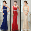 2016 Elegant One Shoulder Lace Crystals Beading sexy red ivory Mermaid Bridesmaid Dresses Long Wedding Party Dress Plus Size