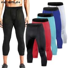 INCERUN Модные мужские обтягивающие спортивные штаны, облегающие брюки, обтягивающие леггинсы для бодибилдинга, базовый слой, штаны для тренажерного зала 3/4, брюки для бега