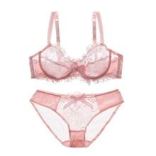 Fashion embroidery bras underwear women set plus size lingerie MT