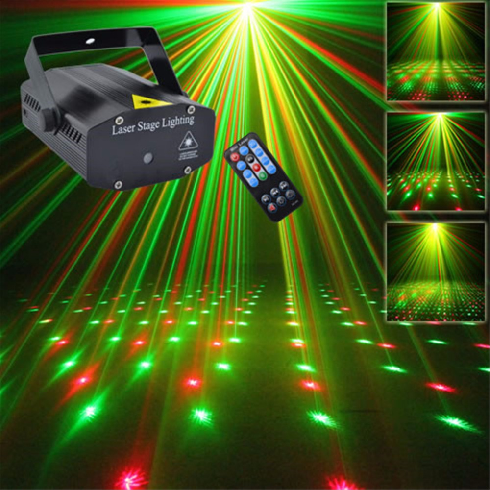 AUCD Mini Portable 110-240V Red Green Laser Meteor Projector Lights DJ KTV Home Party Dsico Xmas LED Stage Lighting O100B