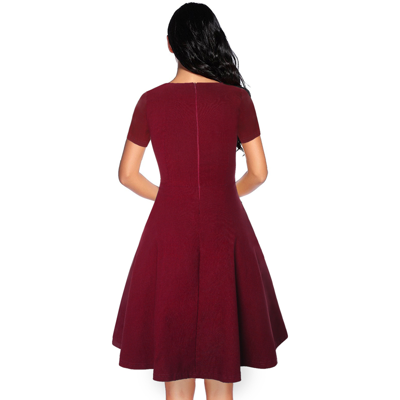 MISSJOY Elegant Ladies Summer V Neck short sleeve A line party dresses Women Rockabilly Vintage 50s Wine Red Knee Length dress in Dresses from Women 39 s Clothing