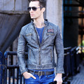 2017 New Retro Vintage Leather Jackets Men Genuine Cowskin Stand Collar Short Slim Fit Winter Biker Coat Size XXXL FREE SHIPPING
