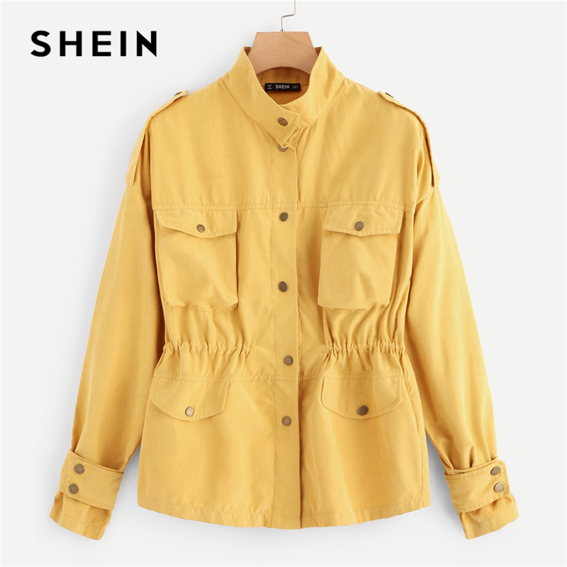 SHEIN Casual Yellow Button Pocket Front Stand Collar Single Breasted Plain Jacket Autumn Modern Lady Women Coat Outerwear