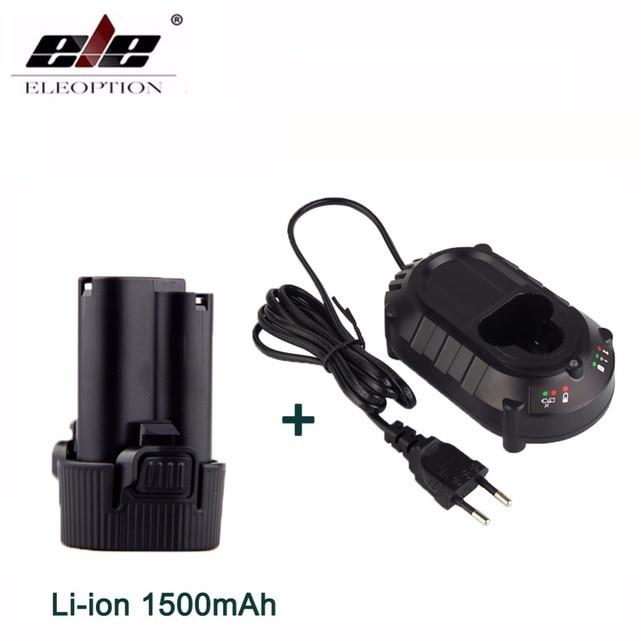 ELEOPTION Li-ion 1500 mAh Batterie pour Makita 10.8 V BL1013 BL1014 TD090D TD090DW LCT203W 194550-6 194551-4 Avec DC10WA Chargeur