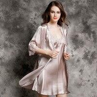 Сексуальные роскошные женские шелковая ночная рубашка халаты комплекты высокого качества 100% шелковое спальное платье с длинными рукавами