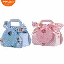 12pcs/lot Kawaii Boys&Girls Baby Shower Candy Box Blue&Pink Kids Party Favors Gift Cookie Bag Bags with Handles