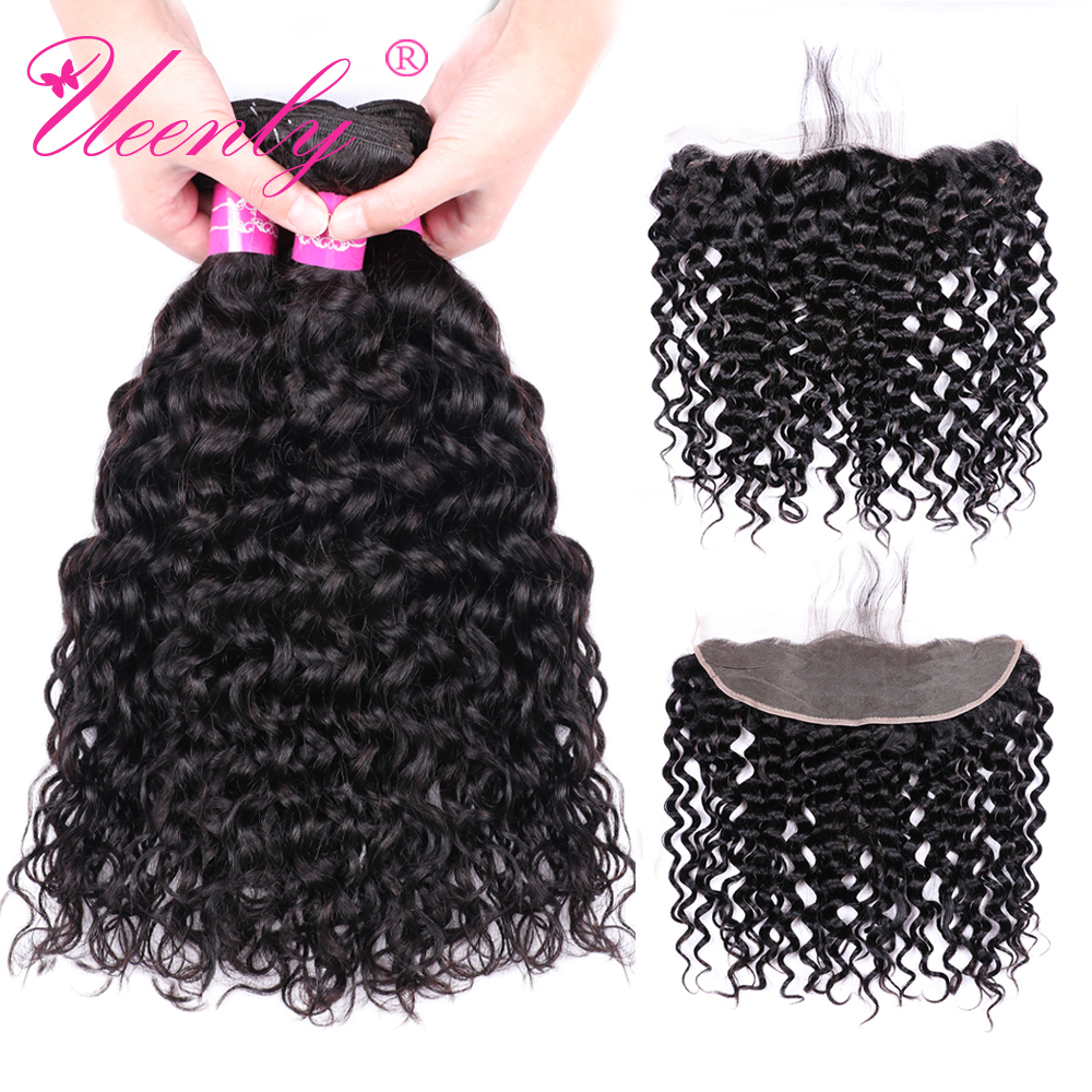 UEENLY Water-Wave-Bundles Frontal 4x13-Closure Brazilian Hair Non-Remy-Hair