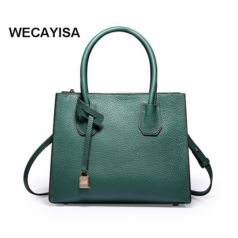 2017 women's genuine leather handbag brief handbag one shoulder cross-body tote bag lock fashion women's bags