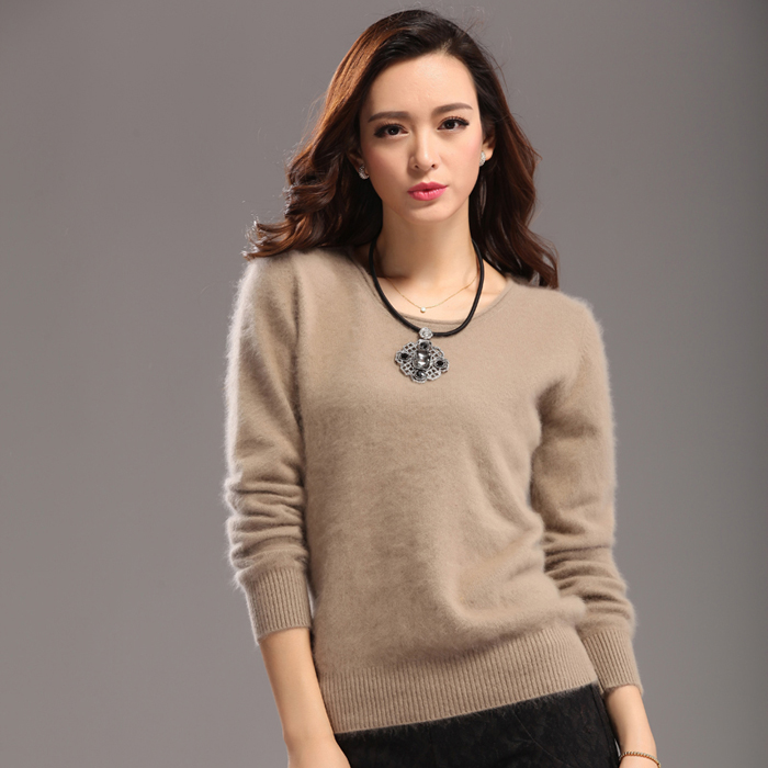 High-End 2019 HOT Brand New Women's Sweaters Pure MInk Cashmere Sweater-Pullover O-Neck Winter Dress