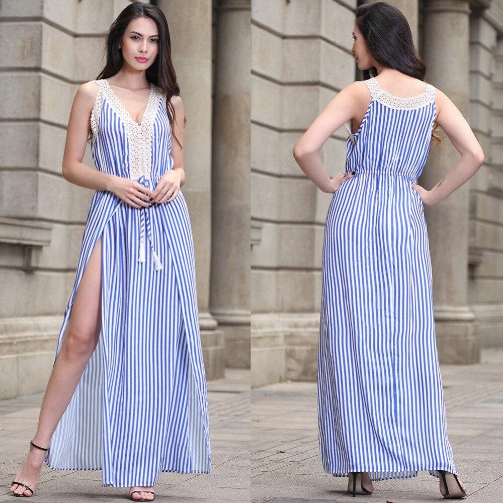 oferta rico y magnífico materiales de alta calidad Azul y blanco rayas Maxi vestido de Verano 2017 sin tirantes ...