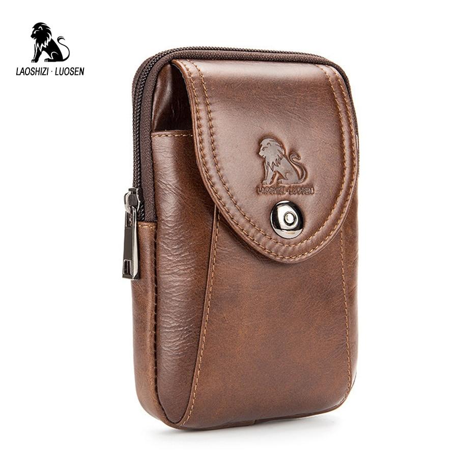 LAOSHIZI LUOSEN Fashion Belt Pouch Genuine Leather Belt Bag Men for Mobile Phone Waist Bag for Men Fanny Packs Small Brown
