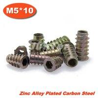 100pcs/lot M5*10 Zinc Alloy Furniture Hex Drive Head Nut Threaded For Wood Insert