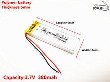 3.7V 380mAh 501646 Lithium Polymer LiPo Rechargeable Battery ion cells For Mp3 Mp4 Mp5 DIY PAD DVD E-book bluetooth headset
