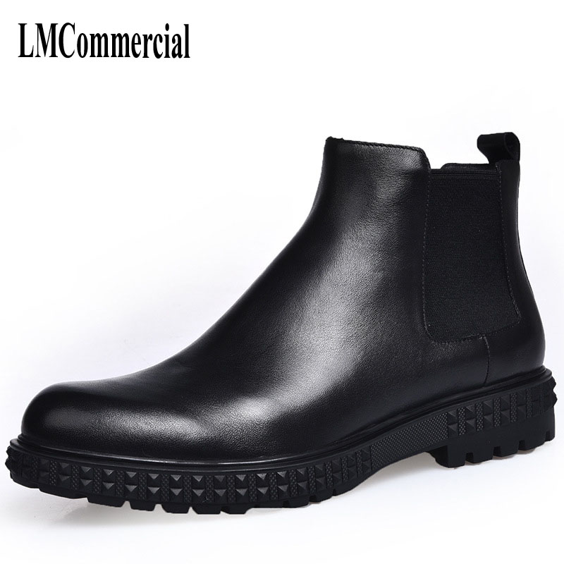 все цены на men Martin winter boots male British high shoes leather short Chelsea retro tide support boots breathable men casual shoes онлайн