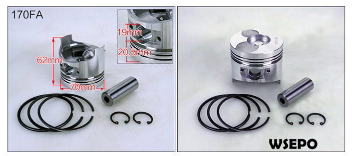 OEM Quality! Piston and Rings Kit for 170F/L48 4HP 4 Stroke Single Cylinder Air Cooled Diesel Engine цены