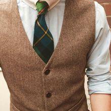 Деревенский Свадебный коричневый шерстяной твид в елочку жилеты на заказ пять пуговиц костюм жениха приталенная жилетка на заказ Свадебная жилетка