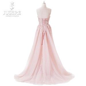 Image 5 - Bez ramiączek Illusion gorset wykwintne gorset trufli wzór kwiat koronki Lace up powrót z regulacją światła różowa suknia wieczorowa 2018