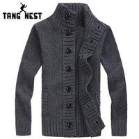 TANGNEST Warm Cardigan Men 2016 Hot Sale Autumn Casual Fashion Men Sweater Four Solid Colors Single