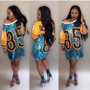 Image 1 - Feminino desempenho trajes cheerleaders solto oversized causal 85 carta mudança de lantejoulas t camisa mini vestido hip hop longo t