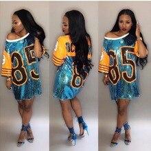 Kadınlar performans kostümleri amigo gevşek boy rahat 85 mektup vites pullu T gömlek Mini elbise hip hop uzun Tee