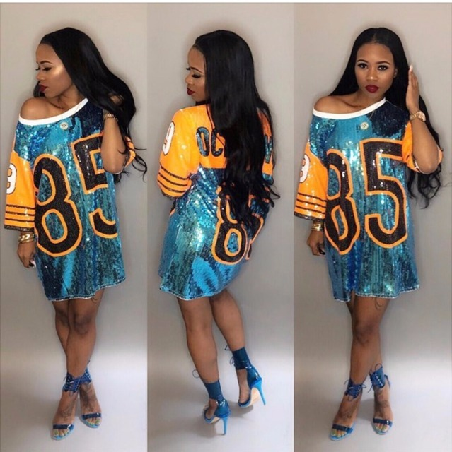 Women Performance Costumes Cheerleaders Loose Oversized Causal 85 Letter  Shift Sequin T Shirt Mini Dress Hip 1e509037b9b6