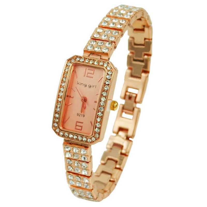 Unique jewelry Luxury Rhinestone Rose Gold Rectangular Dial Quartz Watc