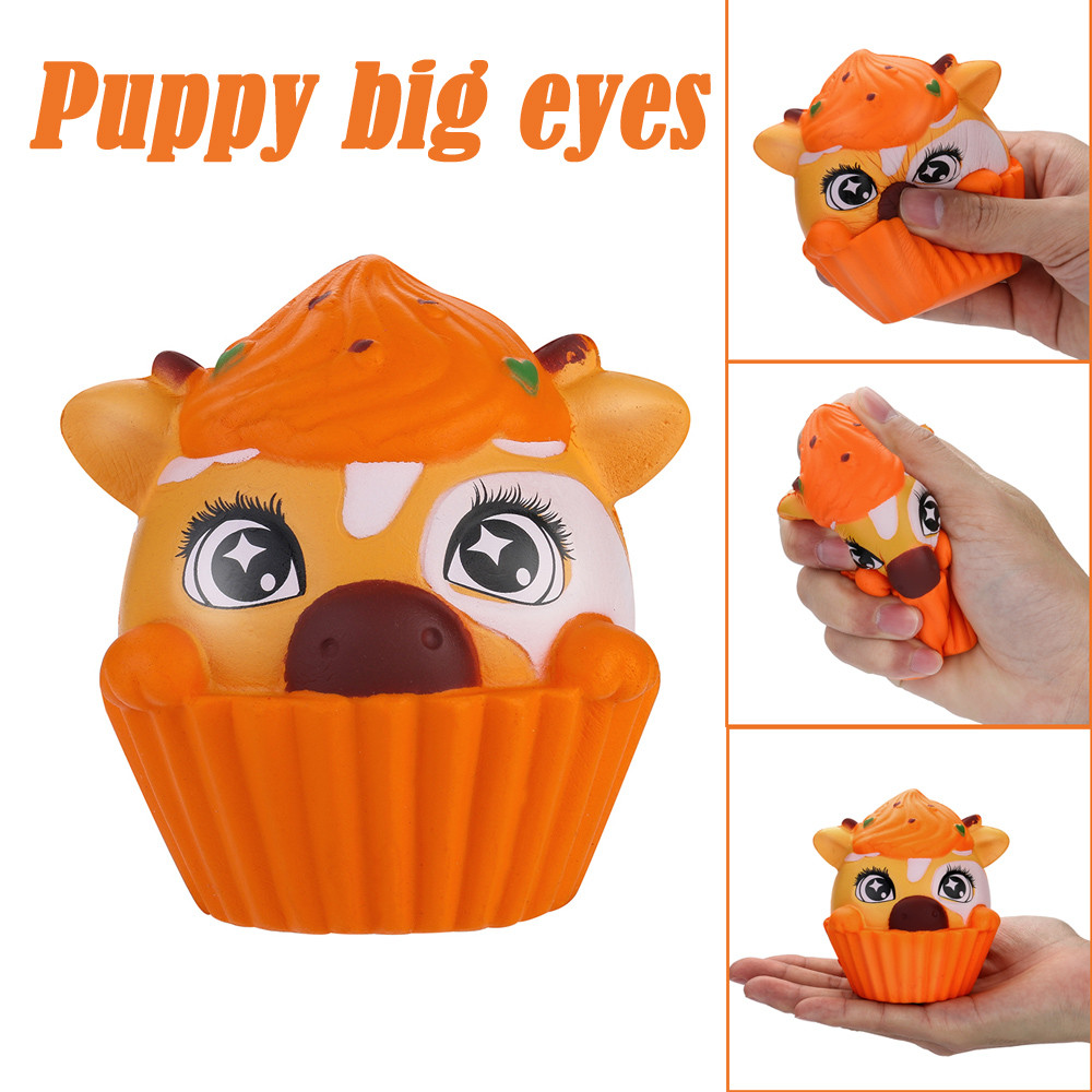 2019 Squeeze Stress Reliever Puppy Big Eyes Cream Scented Slow Rising Toys Gifts Squishy Smooshy Mushy Toys For Children W516