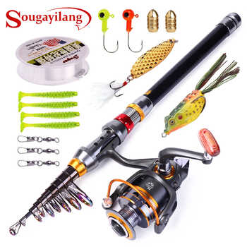 Sougayilang Telescopic Fishing Rod Spinning Fishing Reel PE Fishing Line Hook Lure Box As Gift Full Kit Rod Reel Line Combo Set - DISCOUNT ITEM  40% OFF Sports & Entertainment