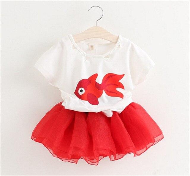 d6c1c77278752 Girls Sets Summer Baby Girls Clothes ensemble fille Cartoon Cute Little  Girls Cartoon Dress Fish Printed