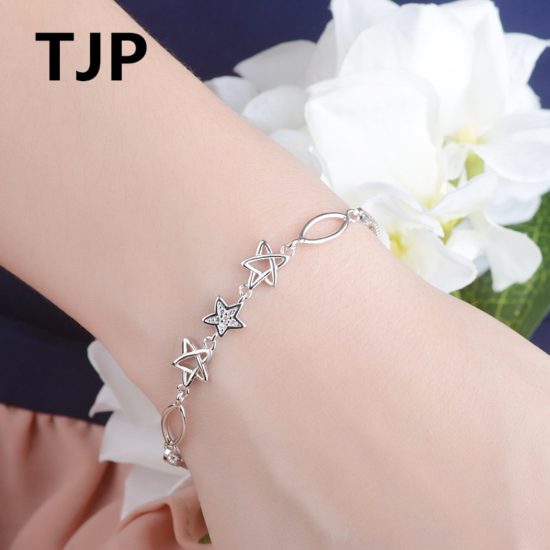 TJP Latest Star Shaped Female Bracelet Jewelry 925 Sterling Silver Women Girl Party Accessories  Dropshipping 2018 Summer