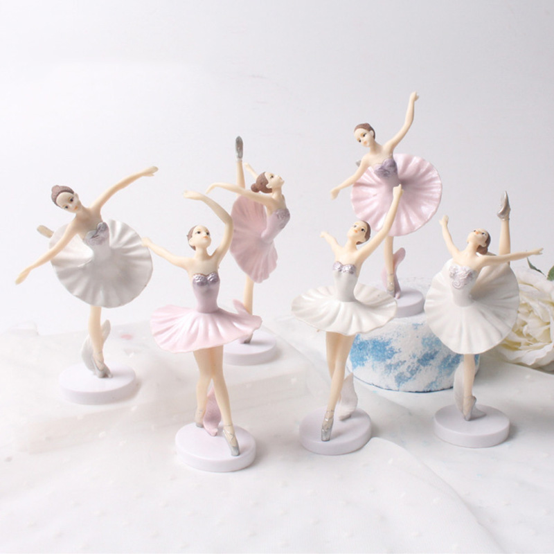 3 Piceces/lot Ballerina Girls Collectible Action Figures Ballet 14cm Pvc Model Birthday Cake Ornaments Children Decorate Toys