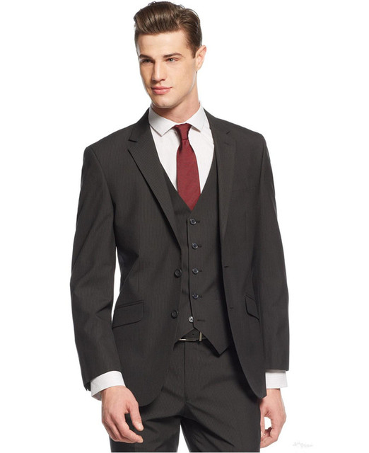 Customized Made Slim Fit Grey Charcoal Men Wedding Suits Groom Tuxedos For Business