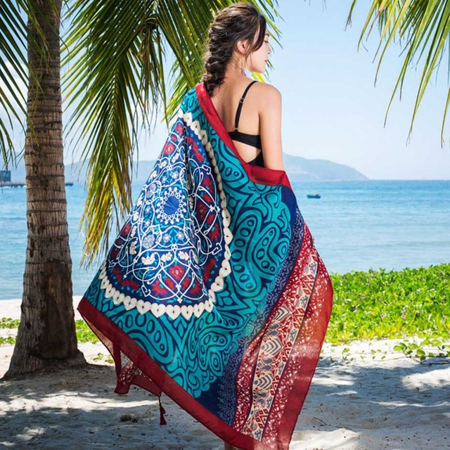 180*100cm Summer Print Silk Scarf Oversized Chiffon Scarf Women Pareo Beach Cover Up Wrap Sarong Sunscreen Long Cape Female