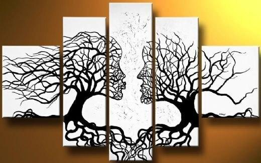 247600376 Pintado à mão 5 peça preto óleo abstrata moderna da parede da lona para  decoração de casa de vida
