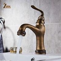 ZGRK Basin Faucets Solid Brass Deck Mount Bathroom Sink Faucet Single Handle Easy Install Vintage Antique Mixer Tap