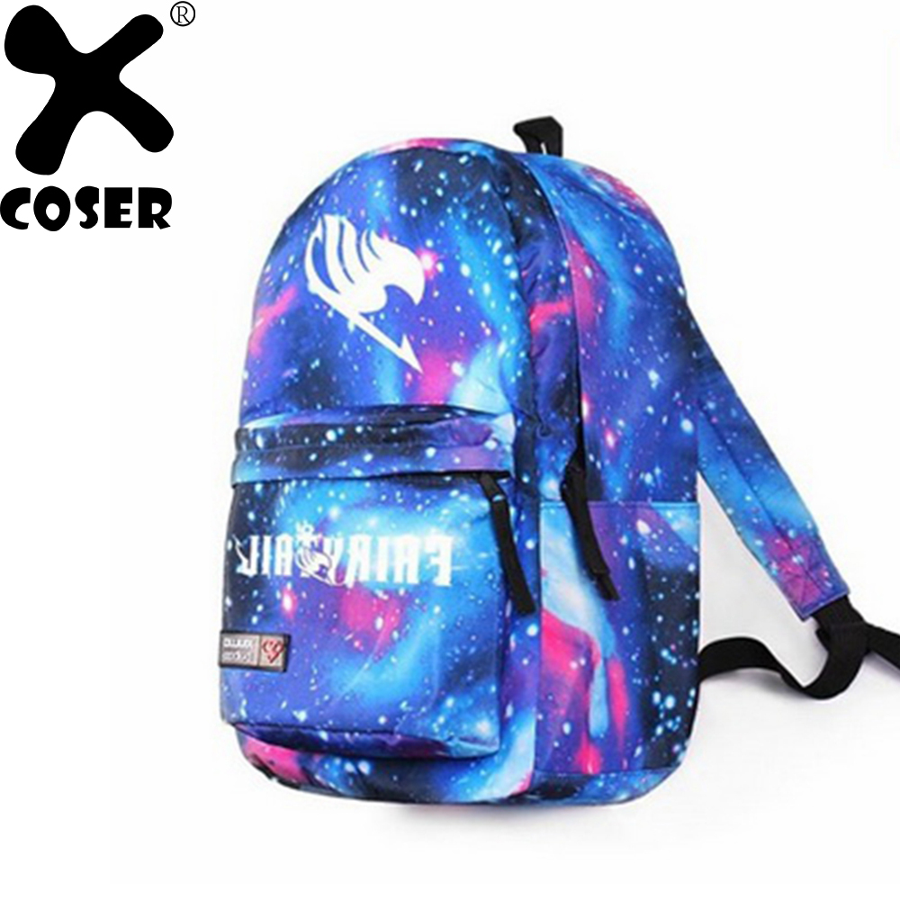 XCOSER Fairy Tail Cosplay Bag Stylish Sky Blue Harajuku Backpack School Casual Travel Backpacks Costume Accessories Bag