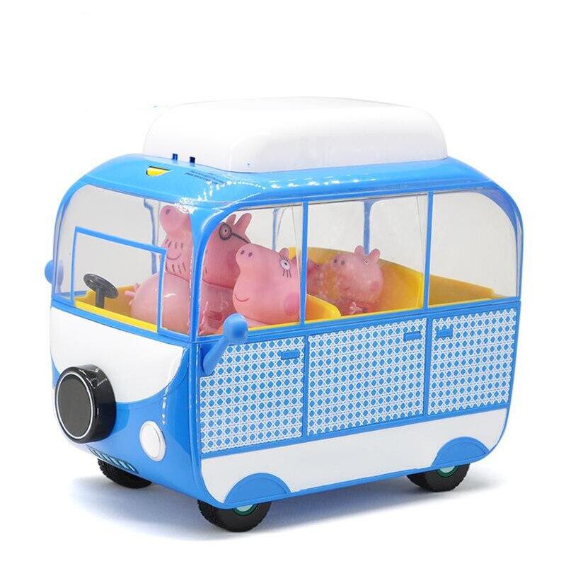 Original Peppa Pig Big Camper Car Toys Set Action Figures Dolls  Cartoon Family George Friends High Quality Model Toys Kids Gift