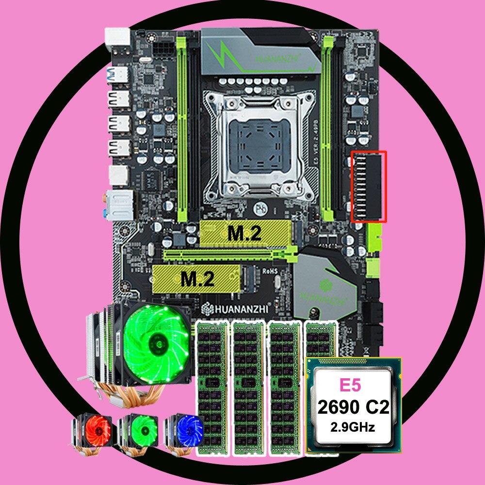 Marca motherboard com dual slot M.2 desconto HUANANZHI E5 X79 Pro motherboard com CPU Intel Xeon 2690 2.9 GHz RAM 4*16G REG ECC