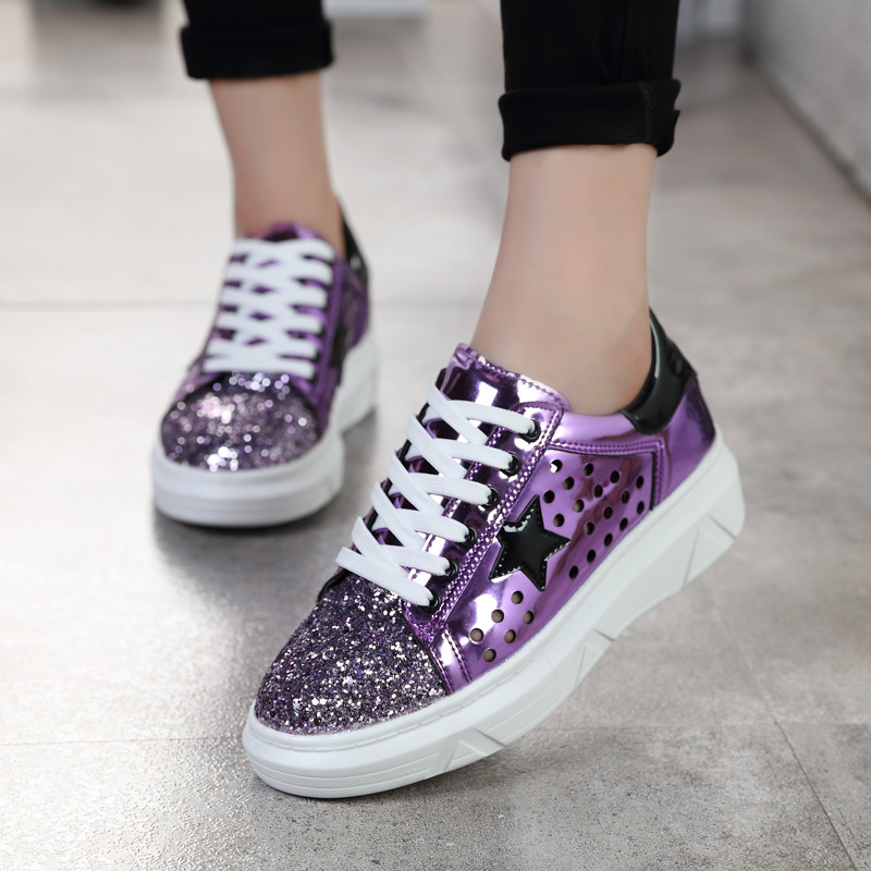 2018 Women Casual Shoes Glitter Leather Do Old Dirty Shoes Mixed Color  Women Sequins Star Golden Fleeces trainers mx5-in Women s Flats from Shoes  on ... 829b6a9bf6c2
