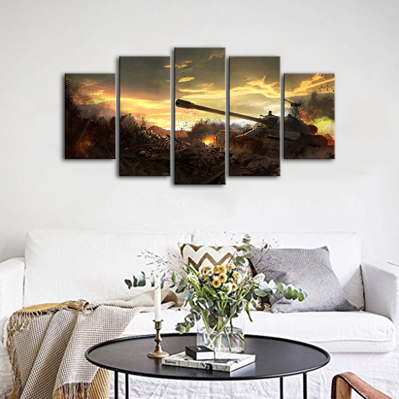 Canvas Wall Art Modular Pictures Home Decor 5 Panels World Tanks Battlefield Sky Clouds Sunset Paintings Living Room HD Printed 1
