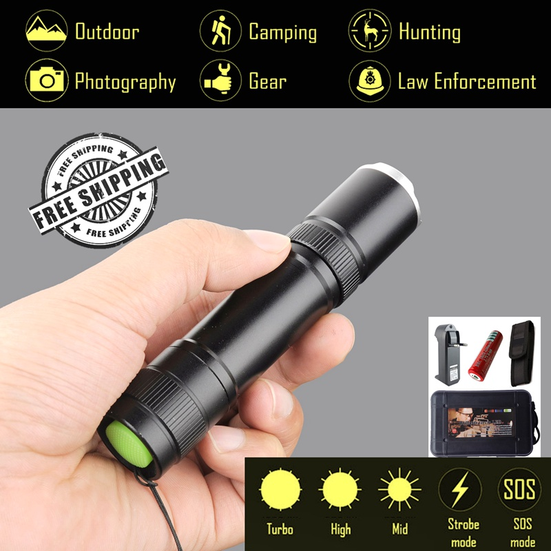 Explorer-BD 5 Tactical Modes Flashlight,3800Lm CREE XM-L T6 Powerful LED Flashlight,Torch light 18650 Battery, Military, Camping e lov new arrival luminous canvas shoes graffiti pisces horoscope couples casual shoes espadrilles women