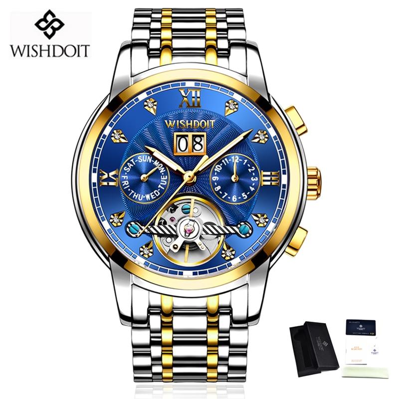 WISHDOIT New Men Watch Mechanical Tourbillon Luxury Fashion Stainless Steel Sport Watches Mens Automatic Watch Relogio Masculino 6