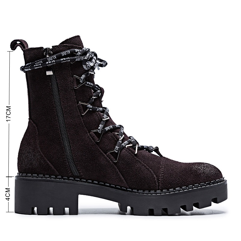 BELISS Cow Suede Ladies Spring Boots Chunky Motorcycle Boots For Women Fashion Round Toe Lace-up Platform Female Ankle Boots B99 (3)_New