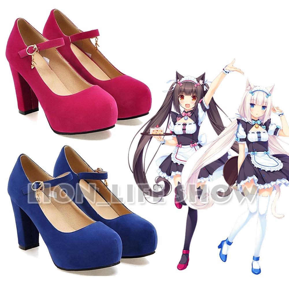 Nekopara Chocola Vanilla Anime Maidservant Lolita blue red Cosplay Shoes High Heels Pumps